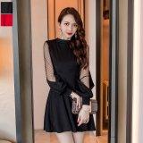ドット柄のメッシュが可愛い韓国ワンピース お呼ばれシーンで着たい水玉模様のパーティードレス