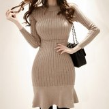 秋冬に着たいマーメイドラインが可愛いニットワンピース スカートが個性的な韓国ワンピース