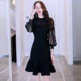 シースルースリーブが可愛い韓国ワンピース マーメイドラインが美しい黒のパーティードレス