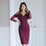 胸元のフリルと花柄レースが美しい韓国ドレス ナイトシーンに似合うパープル色の韓国ワンピース