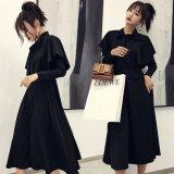 リボンタイが可愛い全身ブラックの韓国ワンピース 大人コーデにぴったりな露出控えめの韓国ドレス