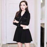 ウエストのベルトが印象的な韓国ワンピース カシュクールデザインの韓国ドレス