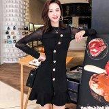 個性的なフロントボタンが可愛い韓国ワンピース シースルー袖がセクシーな韓国ドレス