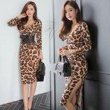 ウエストリボンが可愛い豹柄の韓国ワンピース スリム感がセクシーなレオパードドレス