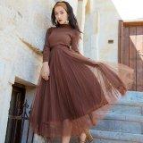 チュールスカートが可愛い韓国ワンピース 秋冬に着たいハイネックの韓国ドレス