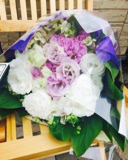 生花花束 ホワイトパープル ※送料900円