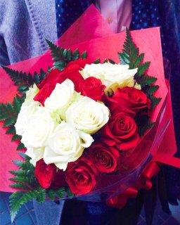 生花花束 バラ ホワイトレッド ※送料1,000円
