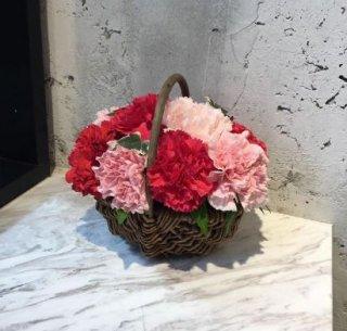 【母の日】カーネーションバスケット 赤ピンク 3,000円 ※5月6日〜13日お届け 日時指定不可【ありがとう】