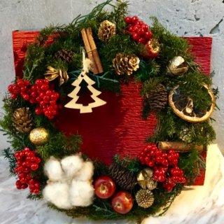 【1点モノ】クリスマスカラーのファミリーリース 2,500円 ※+本州送料1,000円