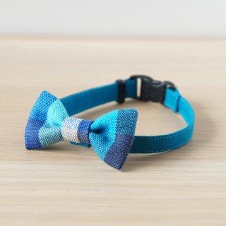 猫 首輪 リボン ブロックチェック ブルー セーフティ猫首輪