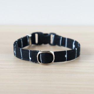 猫 首輪 手書き風ストライプ ブラック(黒) セーフティ猫首輪