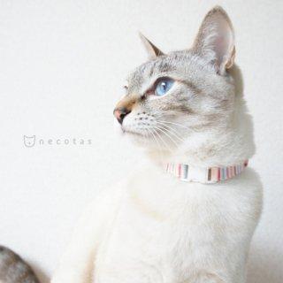 猫 首輪 マルチストライプ ピンク系 セーフティ猫首輪