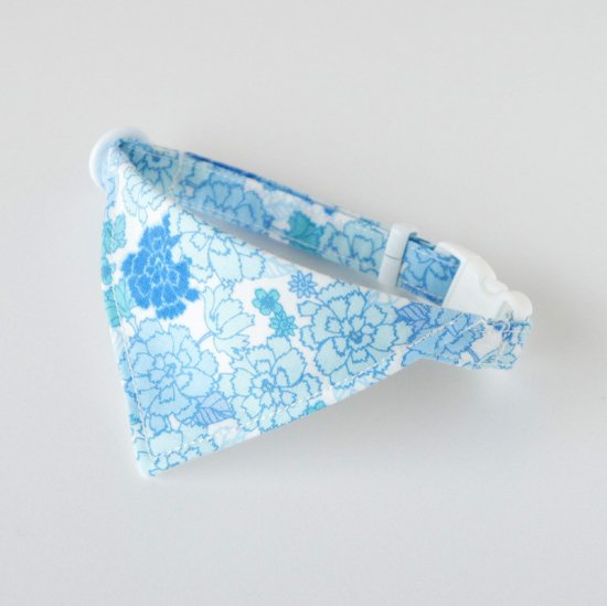 猫 首輪 バンダナ フェミニン花柄 ブルー セーフティ猫首輪
