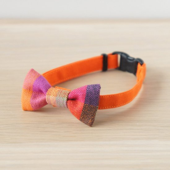猫 首輪 リボン ブロックチェック オレンジ セーフティ猫首輪