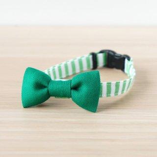 猫 首輪 リボン 無地×ストライプ グリーン セーフティ猫首輪