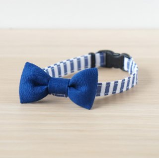 猫 首輪 リボン 無地×ストライプ ブルー セーフティ猫首輪