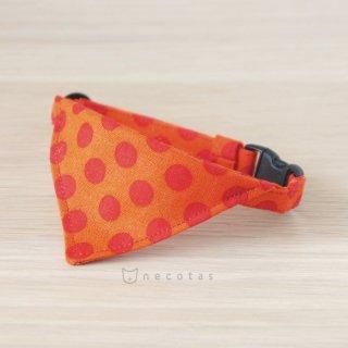 猫 首輪 バンダナ 大きなドット オレンジ セーフティ猫首輪