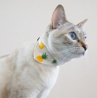 猫 首輪 バンダナ パイナップル柄 キナリ セーフティ猫首輪