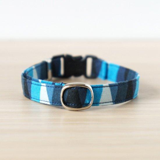 猫 首輪 ランダムしましま ブルー セーフティ猫首輪