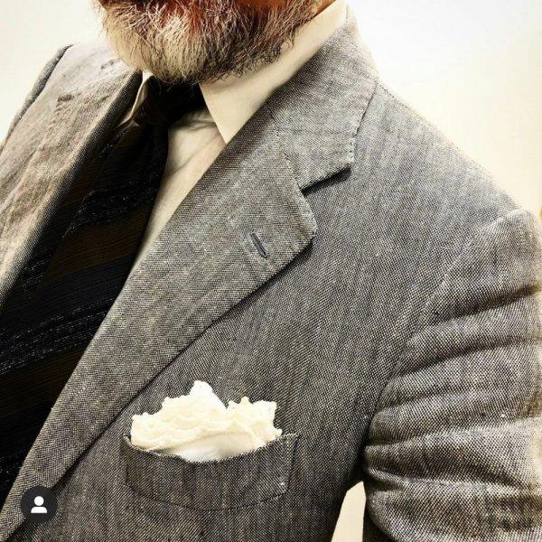MUNGAI(ムンガイ) ポケットチーフ / ホワイト×ホワイト / ハンドメイド / 四角形