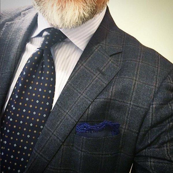 MUNGAI(ムンガイ) ポケットチーフ / デニム× ネイビー/ ハンドメイド / 四角形