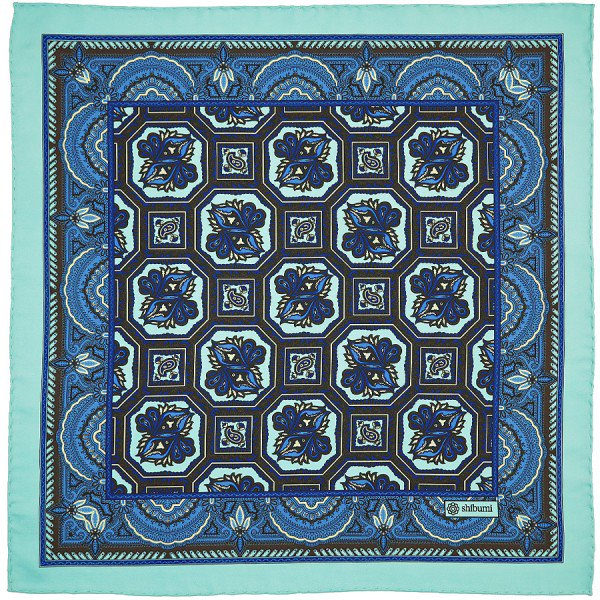 Shibumi Firenze(シブミ・フィレンツェ) フローラルプリント ポケットチーフ シルク / ターコイズブルー  メインイメージ