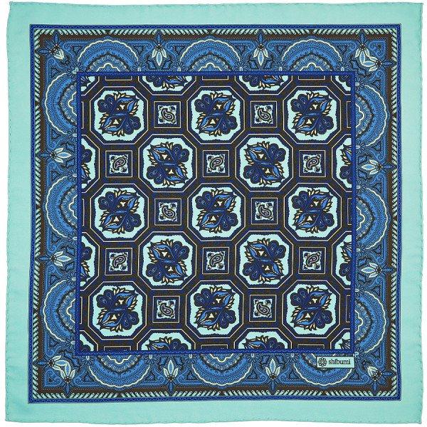 Shibumi Firenze フローラルプリント ポケットチーフ シルク / ターコイズブルー