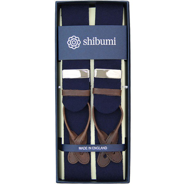 Shibumi Firenze サスペンダー / ウール / ネイビー×ブラウン×シルバー