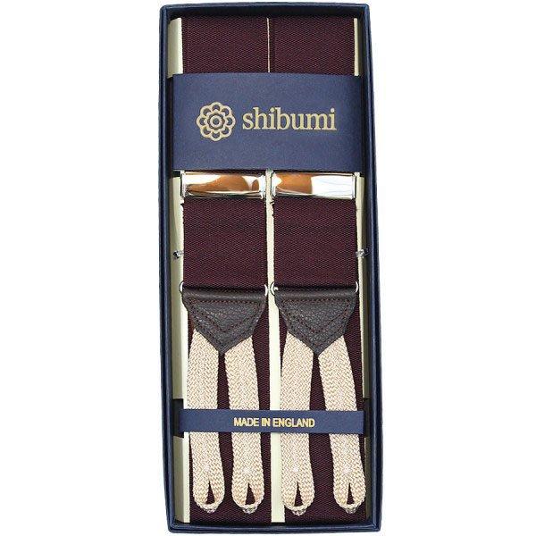 Shibumi Firenze サスペンダー / ナイロン / バーガンディ×ホワイト×ゴールド