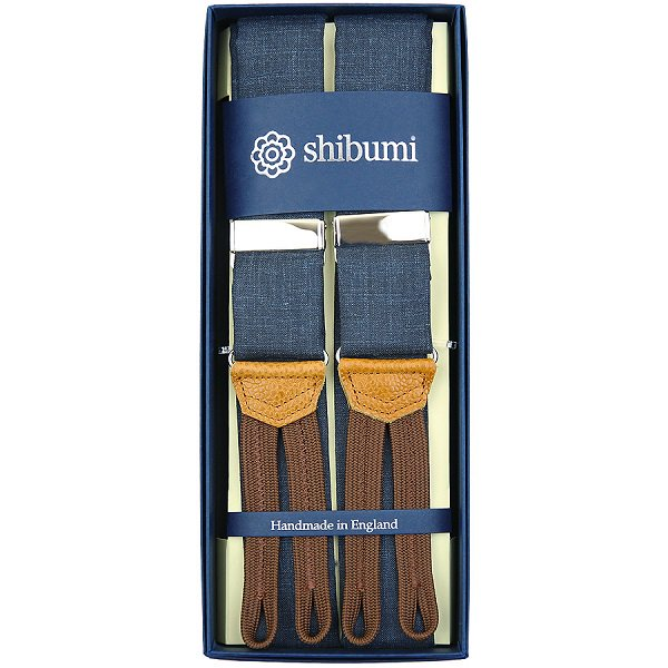 Shibumi Firenze サスペンダー / バンブー / ネイビー×ブラウン×シルバー
