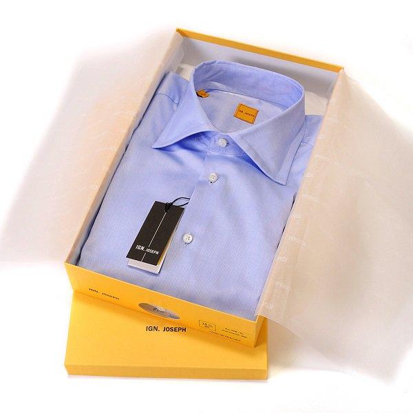 日本初 !!! IGN.JOSEPH ( イグナシアス・ジョセフ ) / ブルー / 無地 / イタリア製 ブロード ドレスシャツ