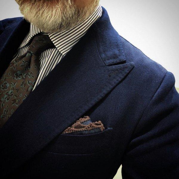 MUNGAI(ムンガイ) ポケットチーフ / インディゴ×ブラウン/ ハンドメイド / 四角形