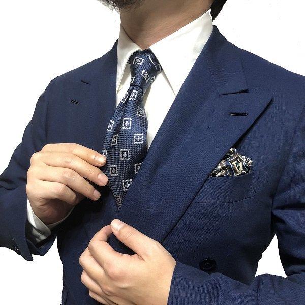 FRANCO BASSI(フランコバッシ)BLUEBIANCO/ネイビー×/小紋柄ネクタイ