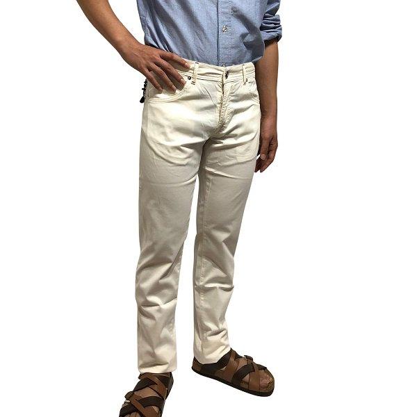 Marco Pescarolo ( マルコペスカローロ ) / ホワイト / コットン / シルク ストレッチ パンツ メインイメージ