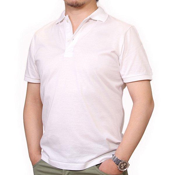残りXSのみ!Drumohr ( ドルモア ) / リブカラー ホワイト / マーセライズ コットン / 襟袖リブ / ポロシャツ メインイメージ