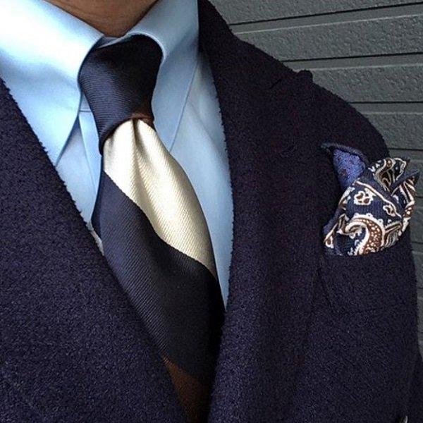 Shibumi(シブミ) Triple Block Stripe Silk Tie - Navy / Brown / Ivory - Handrolled 8�