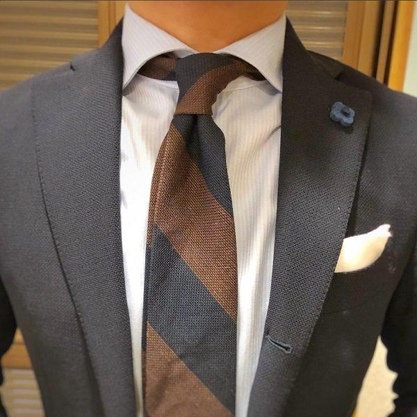Shibumi(シブミ) Block Stripe Grenadine / Garza Piccola Linen / Silk Tie - Navy / Brown 9�