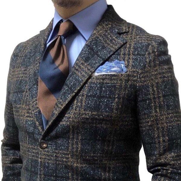 Shibumi(シブミ) Block Stripe Silk Tie - Navy / Brown - Handrolled 9cm メインイメージ