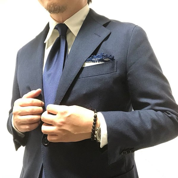 Shibumi(シブミ) Plain Repp Silk Tie - Navy - Self Tipped 9cm
