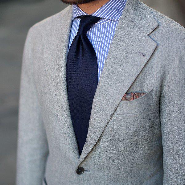 Shibumi(シブミ) 50oz Plain Dyed Silk Tie - Midnight - Handrolled 9cm メインイメージ