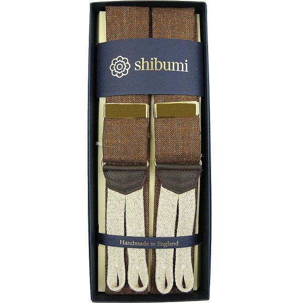 Shibumi Firenze サスペンダー / バンブー / オーカー×オフホワイト×ゴールド