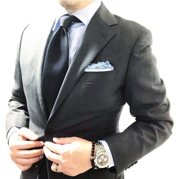 MUNGAI(ムンガイ) ポケットチーフ / ホワイト×ライトブルー / ハンドメイド / 四角形