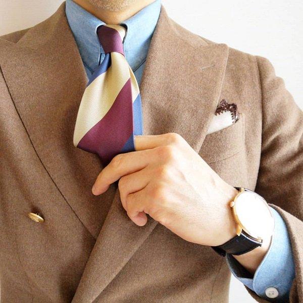 MUNGAI(ムンガイ) ポケットチーフ / ベージュ×ブラウン / ハンドメイド / 四角形