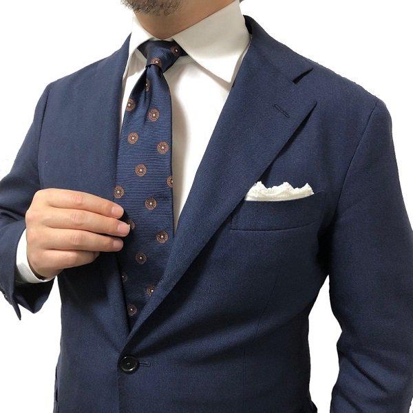 FRANCO BASSI(フランコバッシ)CRAVATTA TRUE BLUE/ネイビー小紋柄/シルクタイ メインイメージ