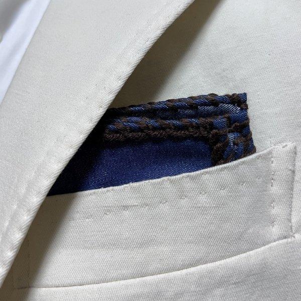 MUNGAI (ムンガイ) インディゴ×ダークブラウン / ウールパイピング  / ハンドメイド / ポケットチーフ