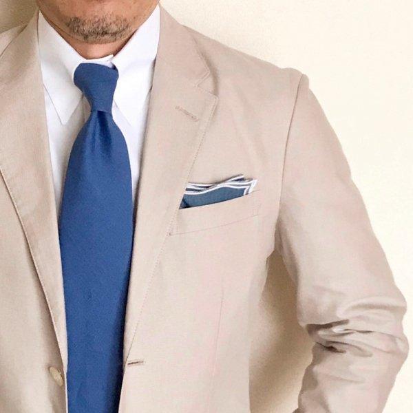MUNGAI (ムンガイ) / インディゴ×ホワイト / ウェイブ / ポケットチーフ