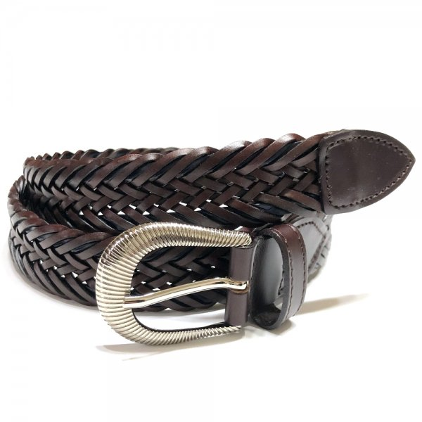 Saddler's (サドラーズ) / ブラウン×ネイビー /   ウエスタンバックル使用 / 2色使いレザーメッシュベルト / 2020AWモデル メインイメージ
