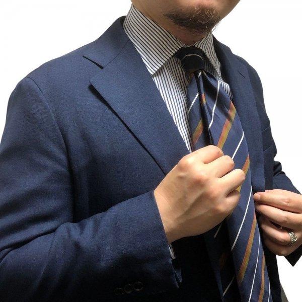 Atto Vannucci (アットヴァンヌッチ) ネイビー / セッテピエゲ / ヴィンテージ調 ペイズリー× レジメンタル / フルハンドメイド / ネクタイ