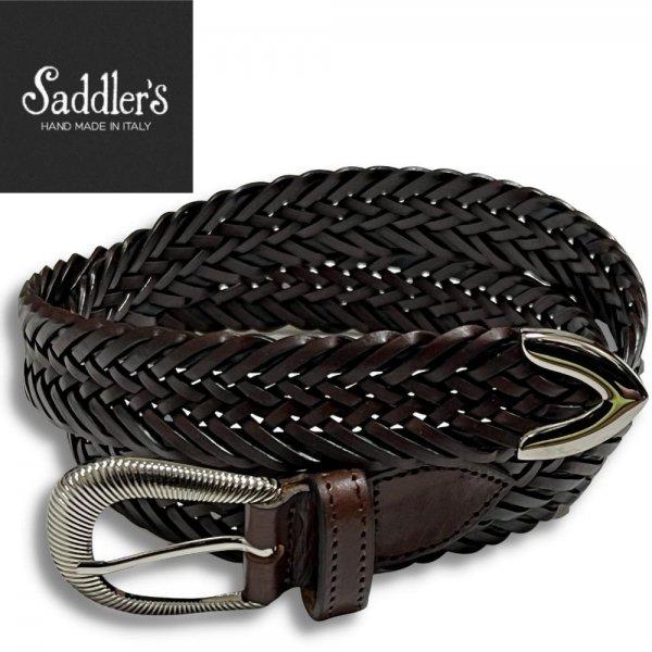 21SSモデル Saddler's (サドラーズ) /  ブラウン×ネイビー / ウエスタンバックル / プンターレ / 2色使いレザーメッシュベルト