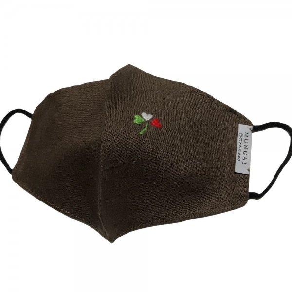 MUNGAI (ムンガイ)  マスク / ブラウン / イタリアンハートクローバー / ハンドメイド
